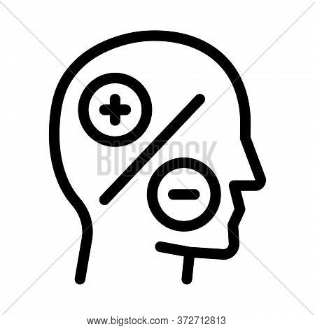 Human Head Plus Minus Icon Vector. Human Head Plus Minus Sign. Isolated Contour Symbol Illustration