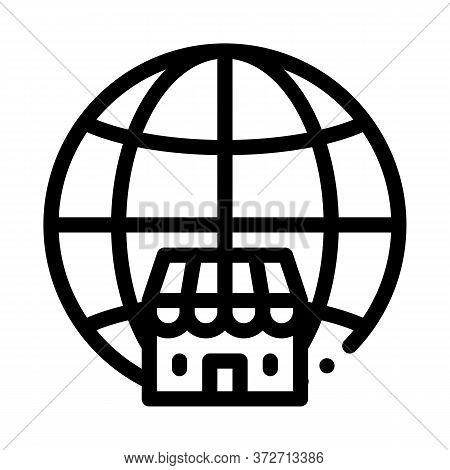 Worldwide Franchise Icon Vector. Worldwide Franchise Sign. Isolated Contour Symbol Illustration