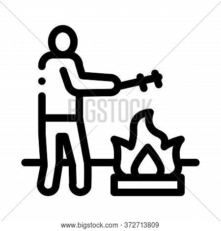 Human Cooking On Camp Fire Icon Vector. Human Cooking On Camp Fire Sign. Isolated Contour Symbol Ill