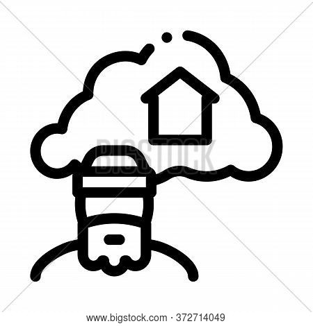 Homeless Dreaming About Home Icon Vector. Homeless Dreaming About Home Sign. Isolated Contour Symbol