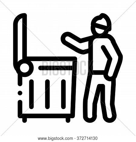 Homeless Looking Food In Trash Can Icon Vector. Homeless Looking Food In Trash Can Sign. Isolated Co