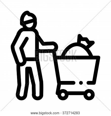 Homeless With Bag In Shop Cart Icon Vector. Homeless With Bag In Shop Cart Sign. Isolated Contour Sy