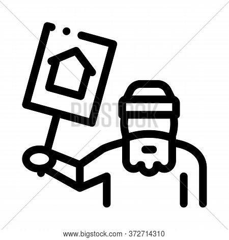 Homeless With Nameplate House Icon Vector. Homeless With Nameplate House Sign. Isolated Contour Symb