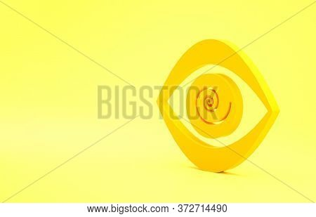 Yellow Hypnosis Icon Isolated On Yellow Background. Human Eye With Spiral Hypnotic Iris. Minimalism