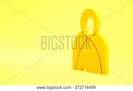 Yellow Mantle, Cloak, Cape Icon Isolated On Yellow Background. Magic Cloak Of Mage, Wizard And Witch