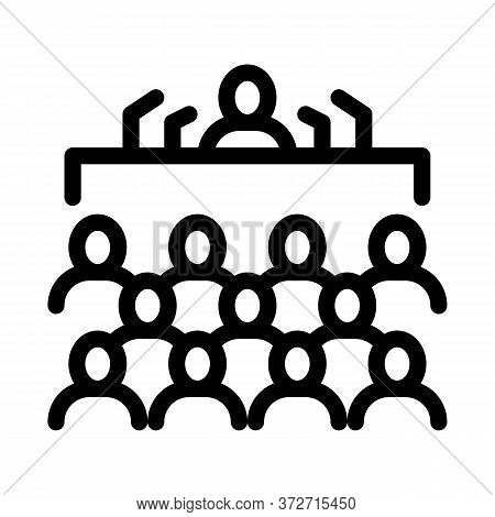 Press Conference Icon Vector. Press Conference Sign. Isolated Contour Symbol Illustration