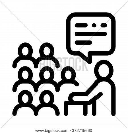 Speaker Talk From Tribune Icon Vector. Speaker Talk From Tribune Sign. Isolated Contour Symbol Illus