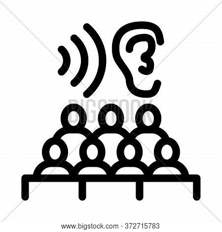 Audience Listening Seminar Icon Vector. Audience Listening Seminar Sign. Isolated Contour Symbol Ill