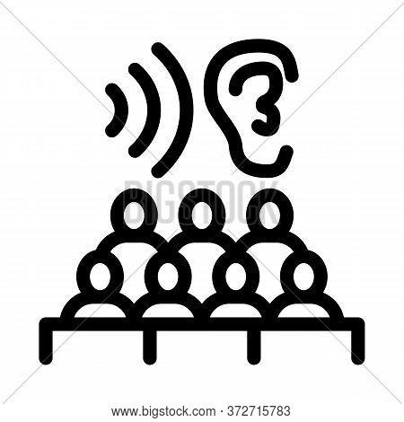 Audience Listening Seminar Icon Vector. Audience Listening Seminar Sign. Isolated Contour Symbol Ill