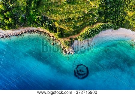 Croatia. Coast As A Background From Top View. Blue Water Background From Top View. Summer Seascape F