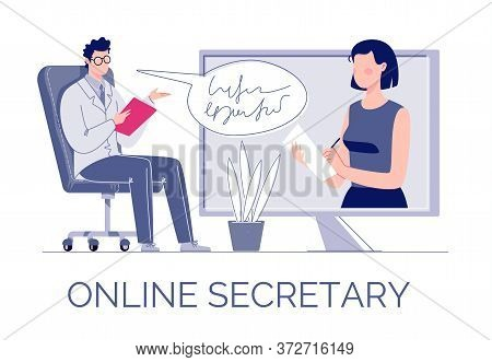 The Concept Of A Virtual Assistant Or Secretary. Internet Technologies. A Professional Provides Secr