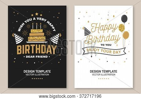 Wish You A Very Happy Birthday Dear Friend. Badge, Sticker, Card, With Birthday Hat, Firework And Ca