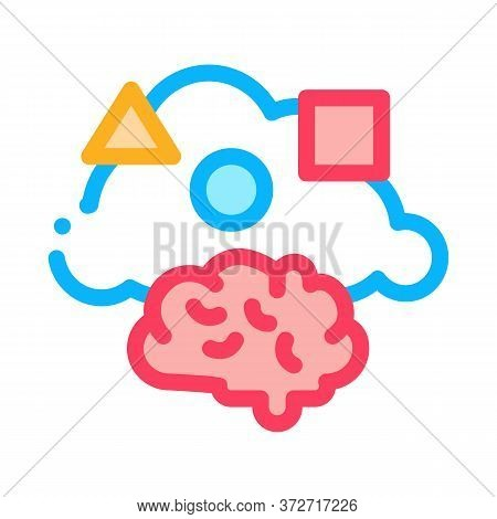 Dementia Brain Figures Icon Vector. Dementia Brain Figures Sign. Color Symbol Illustration