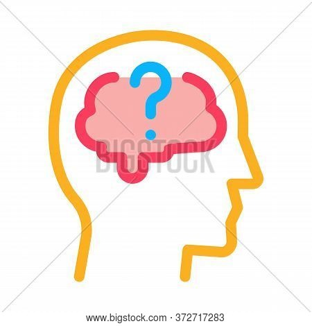 Brain Question Mark Icon Vector. Brain Question Mark Sign. Color Symbol Illustration