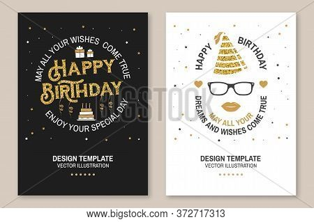 May All Your Wishes Come True. Happy Birthday. Stamp, Badge, Sticker, Card With Gifts And Birthday C