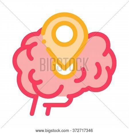 Dementia Brain Location Gps Sign Icon Vector. Dementia Brain Location Gps Sign Sign. Color Symbol Il