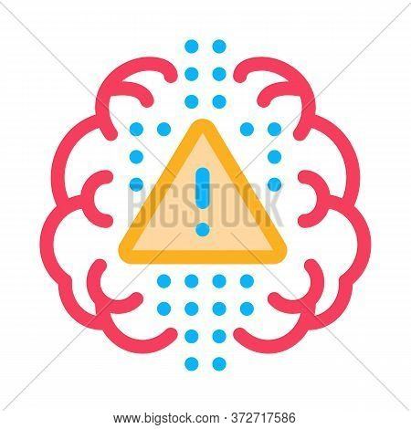 Brain Exclamation Mark Icon Vector. Brain Exclamation Mark Sign. Color Symbol Illustration
