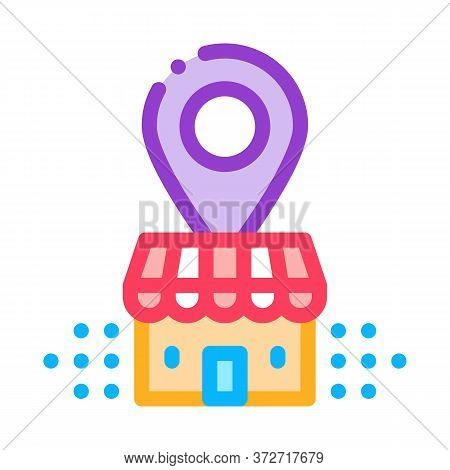 Franchise Building Location Gps Mark Icon Vector. Franchise Building Location Gps Mark Sign. Color S