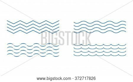 Blue Wave Icons. Outline Curve Liquid Sign. Simple Wavy Set In Blue Color. Flow Water Swirling. Abst