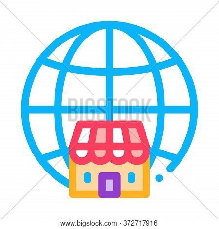 Worldwide Franchise Icon Vector. Worldwide Franchise Sign. Color Symbol Illustration