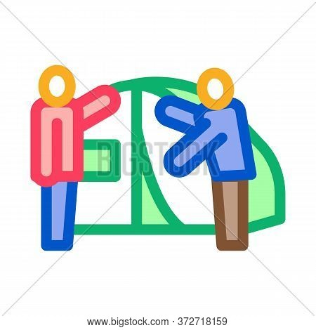 Human Construct Tent Icon Vector. Human Construct Tent Sign. Color Symbol Illustration