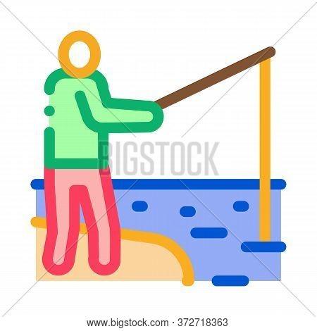 Fisherman Fishing Icon Vector. Fisherman Fishing Sign. Color Symbol Illustration