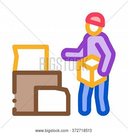 Homeless With Cardboard Boxes Icon Vector. Homeless With Cardboard Boxes Sign. Color Symbol Illustra