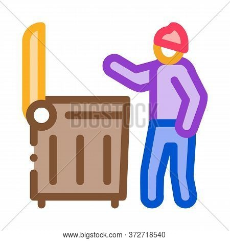Homeless Looking Food In Trash Can Icon Vector. Homeless Looking Food In Trash Can Sign. Color Symbo