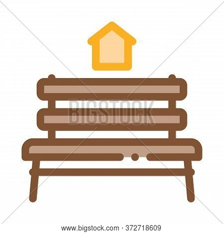 Bench Homeless Home Icon Vector. Bench Homeless Home Sign. Color Symbol Illustration