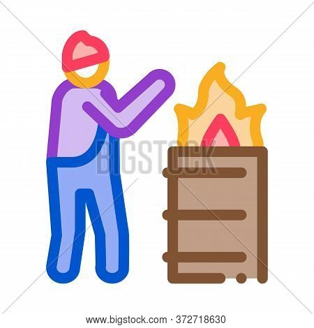 Homeless Warming Flame Icon Vector. Homeless Warming Flame Sign. Color Symbol Illustration