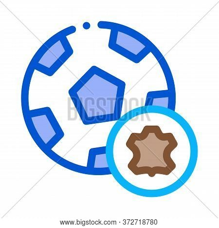 Leather Soccer Ball Icon Vector. Leather Soccer Ball Sign. Color Symbol Illustration