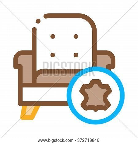 Leather Armchair Icon Vector. Leather Armchair Sign. Color Symbol Illustration