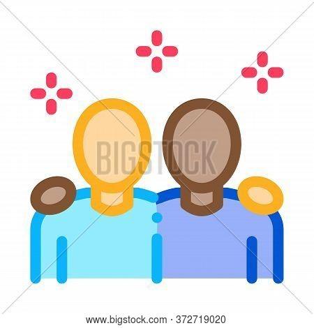 Multiracial Human Friends Icon Vector. Multiracial Human Friends Sign. Color Symbol Illustration