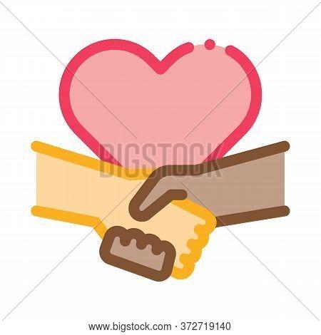 Multiracial Handshake Heart Icon Vector. Multiracial Handshake Heart Sign. Color Symbol Illustration