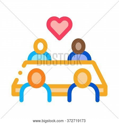 Multiracial People Sitting At Table Icon Vector. Multiracial People Sitting At Table Sign. Color Sym