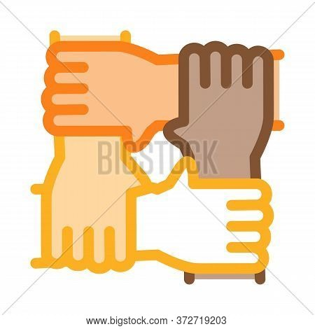 Multiracial Group Hands Holding Icon Vector. Multiracial Group Hands Holding Sign. Color Symbol Illu