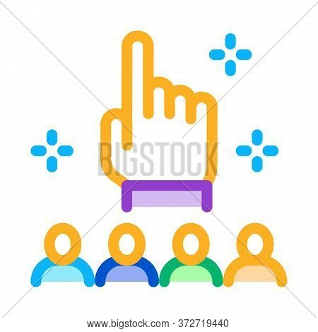 Finger Up Gesture And Audience Icon Vector. Finger Up Gesture And Audience Sign. Color Symbol Illust