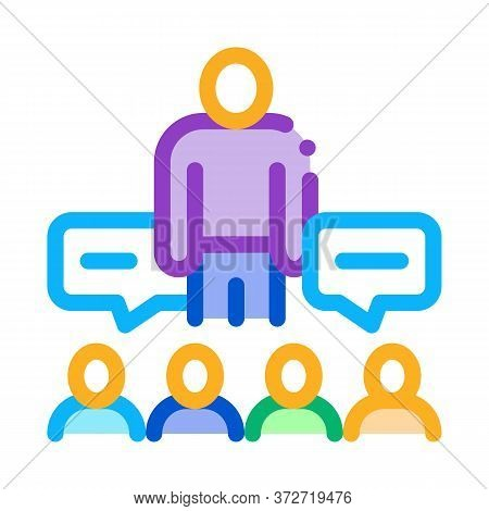 Lector Discuss With Audience Icon Vector. Lector Discuss With Audience Sign. Color Symbol Illustrati
