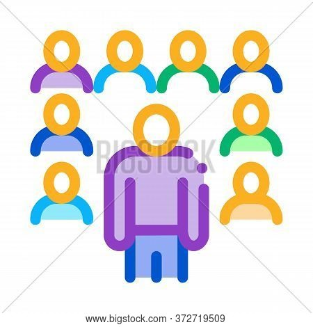 Speaker Standing Before Audience Icon Vector. Speaker Standing Before Audience Sign. Color Symbol Il