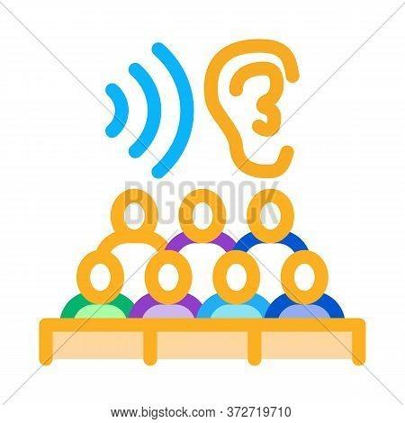 Audience Listening Seminar Icon Vector. Audience Listening Seminar Sign. Color Symbol Illustration