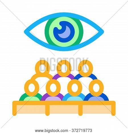 Audience Watching Icon Vector. Audience Watching Sign. Color Symbol Illustration