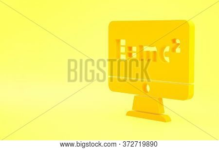 Yellow Math System Of Equation Solution On Computer Monitor Icon Isolated On Yellow Background. E Eq