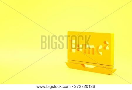 Yellow Math System Of Equation Solution On Laptop Icon Isolated On Yellow Background. E Equals Mc Sq