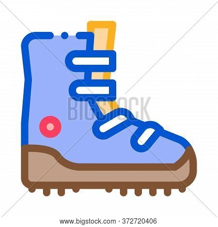 Hiking Tourist Boot Icon Vector. Hiking Tourist Boot Sign. Color Symbol Illustration