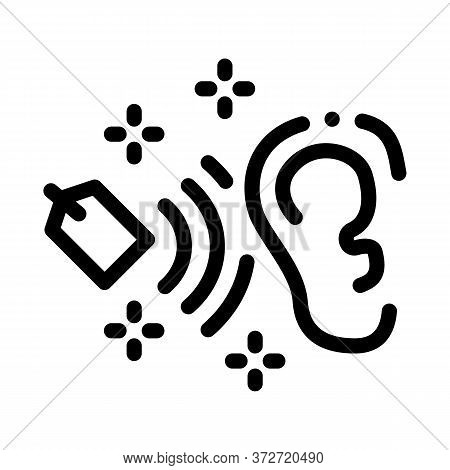 Label Price In Human Ear Icon Vector. Label Price In Human Ear Sign. Isolated Contour Symbol Illustr