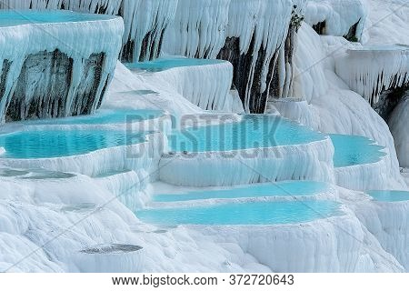 Water Landscape With A Swimming Pool With Cascade. Pamukkale, Turkey.