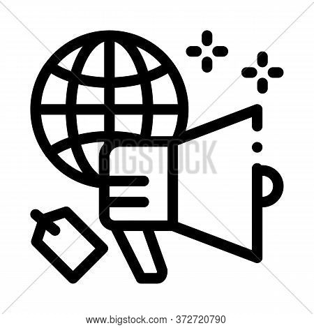 Worldwide Price Loudspeaker Icon Vector. Worldwide Price Loudspeaker Sign. Isolated Contour Symbol I