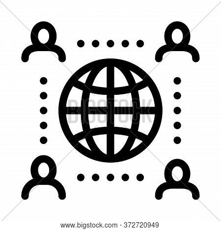 Worldwide Outsource Employees Icon Vector. Worldwide Outsource Employees Sign. Isolated Contour Symb