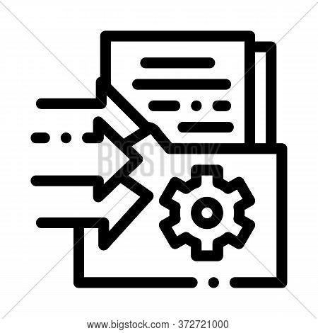 Document Adding In Folder Icon Vector. Document Adding In Folder Sign. Isolated Contour Symbol Illus