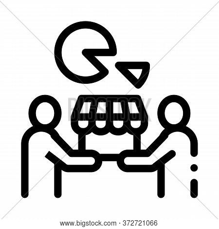 Sold Business Part Icon Vector. Sold Business Part Sign. Isolated Contour Symbol Illustration